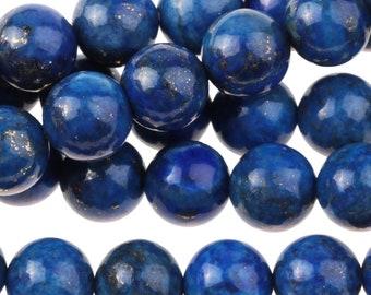 "Dakota Stones Lapis 8mm Round Gemstones. 8"" Strand. LAP8RD-8"