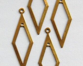 2 Hole Raw Brass Long Diamond Pendant Drop 41x15mm (4) mtl054A