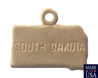 Raw Brass Tiny South Dakota State Charm Drops (6) chr201S