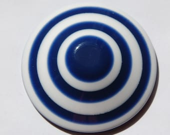 Vintage Lucite Blue and White Striped Bulls Eye Cone Large Cabochon cab665A