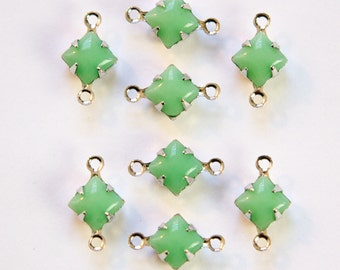 Opaque Green Square Glass Stones in 2 Loop Silver Setting 6mm squ013V2