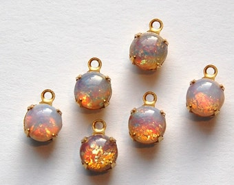 Vintage Opal Glass Stone Brass 1 Loop Setting Drops rnd001C