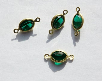 2 Loop Faceted Emerald Green Swarovski Glass Channel Set Connectors Links cha006F