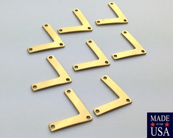 3 Hole Raw Brass V Connector Pendant 11x15mm (8) mtl442A