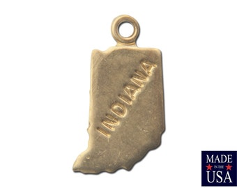 Raw Brass Tiny Indiana State Charm Drops (2) chr202CC