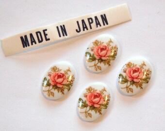 Vintage Pink Rose Flower Cabochons Japan 14x10mm cab425E