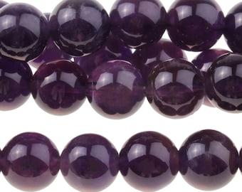 """Dakota Stones Amethyst 8mm Round Gemstones. 8"""" Strand. AME8RD-8"""