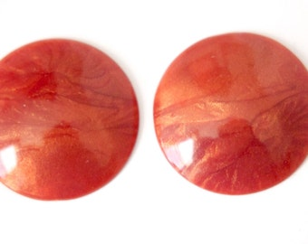 Vintage Rusty Coral Iridescent  Acrylic Cabochons 30mm (4) cab848C
