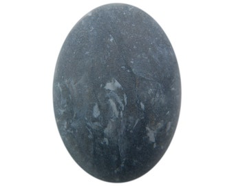 Vintage Acrylic Matte Gray Marbled Cabochon Italy 25x18mm (4) cab811E