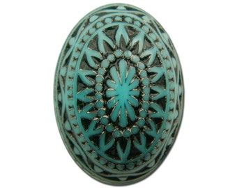 Vintage Etched Mosaic Turquoise Blue and Black Cabochons 25x18mm (2) cab715F