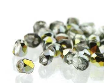 True 2 Czech Crystal Marea Faceted Fire Polished Glass Beads 2mm (200+/-)