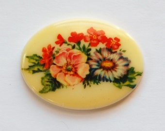Vintage Mixed Flower Cabochon 40x30mm cab746F