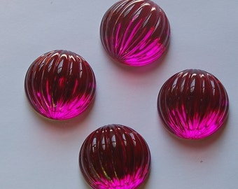 Vintage Fuchsia Pink Ribbed Plastic Melon Cabochon 18mm  cab395D