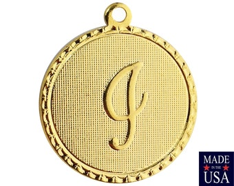 Gold Plated Letter i Initial Charm Drop with Loop (1) chr215I