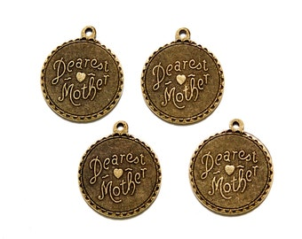 Dearest Mother Brass Ox Word Charm Drop with Loop (4) chr194PP