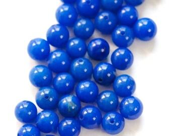 Vintage Lapis Blue Glass Beads Japan 6mm (10)  jpn001M