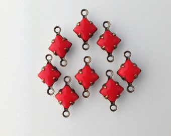 Opaque Red Square Glass Stones in 2 Loop Brass Ox Setting 6mm (8) squ014N2