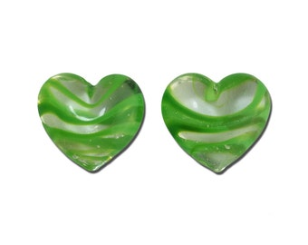 Transparent Green Striped Glass Hearts  25x22mm (2) gyb012A