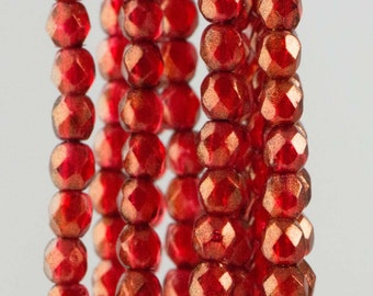 Firepolish Czech Faceted Halo Cardinal Glass Beads 3mm (50) 1-03-29256