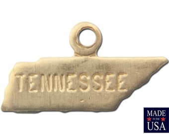 Raw Brass Tiny Tennessee State Charm Drops (6) chr201EE