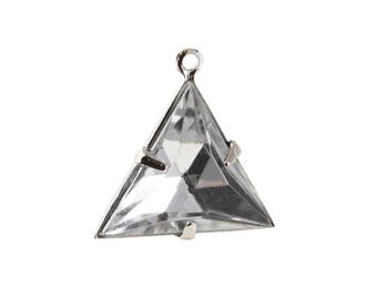 Crystal Clear Faceted Acrylic Triangle in 1 Loop Silver Setting Pendant Drop 20mm (4) tri003L