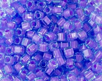 Lilac Lined Aqua AB Miyuki Cube Seed Bead 1.8mm 8.2gm Tube SB18-2640-TB