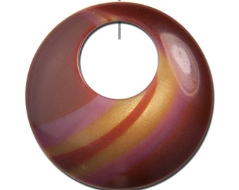 Vintage Rust Brown Pink Gold Swirled Hoops Pendants (2) hps089B