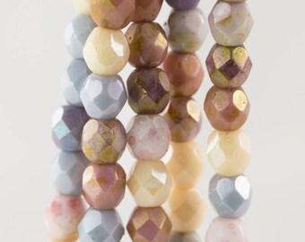 Czech Faceted Opaque Luster Mix Firepolish Glass Beads 4mm (50)