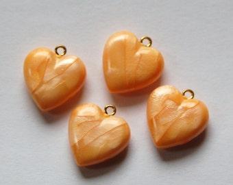 Vintage Small Orange Yellow Pearl Acrylic Heart Charms Pendants chr175E