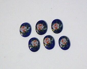 Vintage Pink Rose on Blue Glass Flower Cabochons Japan 8x6mm (6) cab423C
