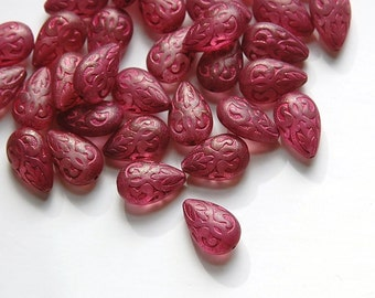 Semi Translucent Pink and Dark Pink Etched Teardrop (6) bds120P