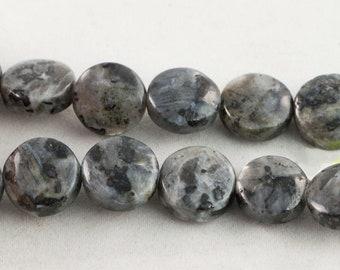 "30% OFF Dakota Stones Larvakite 12mm Coin Gemstones. 8"" Strand. LAR12DC-8"