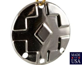 4 Hole Silver Plated Southwestern Drop / Pendant 17mm (6) mtl486G