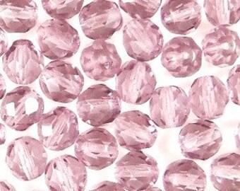 Czech Faceted Medium Amethyst Firepolish Glass Beads 6mm (25)