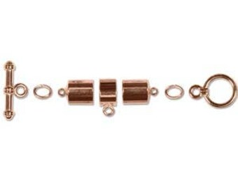 Kumihimo 8mm Barrel Toggle Finding Set Copper Plate