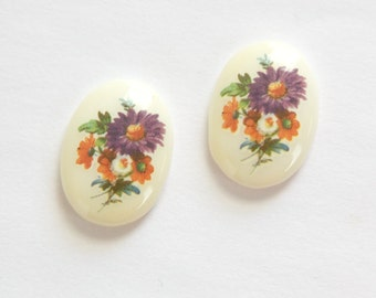 Vintage Purple Floral Glass Cabochons Germany 18x13mm cab681M