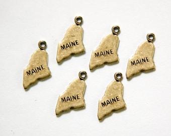 Brass Ox Tiny Maine State Charm Drops (6) chr203Q