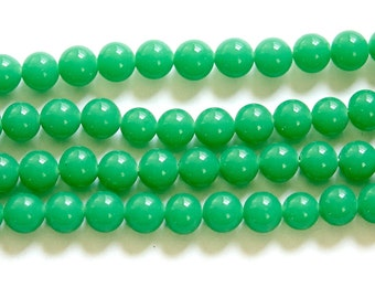 Vintage Jade Green Glass Beads Japan 6mm (10)  jpn001F
