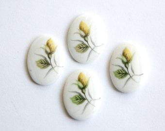 Yellow Flower Bud Vintage Glass Cabochons Japan 18mm x 13mm cab424E