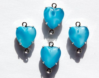 Vintage Blue Moonglow Glass Heart 2 Loop Silver Plated Setting 10mm hrt009C2