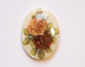 Vintage Mauve Burgundy Rose Flower Glass Cabochon Germany 25x18mm cab257B