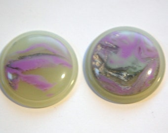 Vintage Purple Silver and Green Swirl 30mm Cabochons cab669C