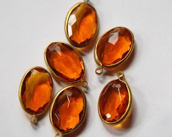 Vintage Brass Channel Set Faceted Oval Topaz Acrylic Drops Charms (6) chr161B