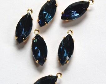 Montana Blue Glass Navettes Stones in 1 Loop Raw Brass Setting 15mmx7mm nav001F