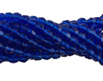 Transparent Faceted Capri Blue Glass Beads 6mm (40) bds1500F