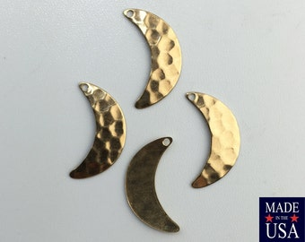 1 Hole Raw Brass Hammered Crescent Pendant Charms  (8) mtl387A