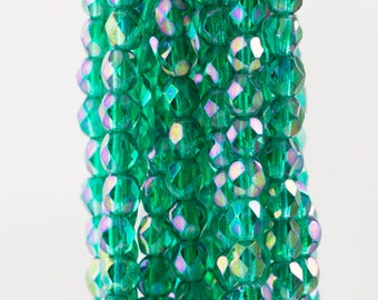Czech Faceted Luster Iris Emerald Firepolish Glass Beads 4mm (50)