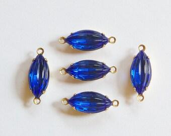 Ribbed Sapphire Blue Navette Stones 2 Loop Brass Setting nav001GG2