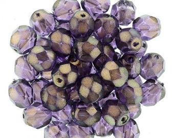 Czech Faceted Halo Regal Firepolish Glass Beads 3mm (50)