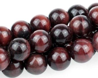 """Dakota Stones Red Tiger Eye 10mm Round Gemstones. 8"""" Strand. RTE10RD-8"""